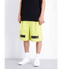 Off White C O Virgil Abloh X Fragment Design Taping And Logo Print Denim Shorts Brilliant Yellow