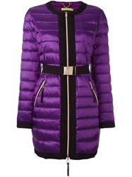 Versace Jeans Belted Puffer Jacket Pink Purple
