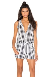 Stateside Vertical Navy Stripe Veil Tied Waist Sleeveless Romper White