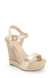 Women's Pelle Moda 'Omer' Wedge Sandal Platinum Gold Leather