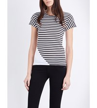 Rag And Bone Graphic Base Striped Cotton Jersey T Shirt White Black