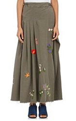 Off White C O Virgil Abloh Embroidered Wrap Maxi Skirt Green
