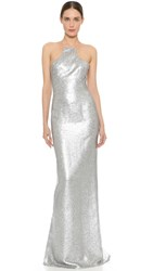 Kaufman Franco Liquid Sequin Column Gown Aluminum