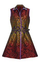 Cynthia Rowley Brocade Belted Dress Red Gold Purple
