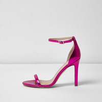 River Island Womens Metallic Pink Wide Fit Barely There Sandals