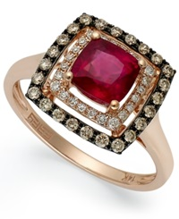 Effy Collection Red Velvet By Effy Ruby 1 3 8 Ct. T.W. And Brown Diamond 1 4 Ct. T.W. Square Ring In 14K Rose Gold