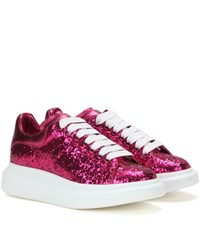 Alexander Mcqueen Glitter And Metallic Leather Sneakers Purple