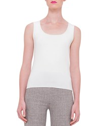 Akris Scoop Neck Fitted Tank Off White