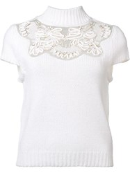 Alice Olivia Lace Detail Knitted Top White