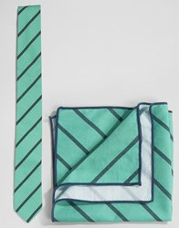 Minimum Tie And Pocket Square Set In Stripe Green Blue