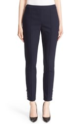 St. John Women's Collection 'Alexa' Button Detail Scuba Leggings Navy