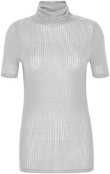Soaked In Luxury Short Sleeved Top With Roll Neck Grey
