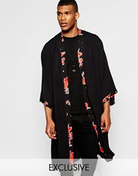 Reclaimed Vintage Kimono In Mid Length With Floral Trim Black