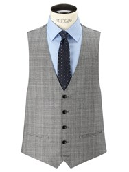 John Lewis Super 100S Wool Cashmere Milled Check Tailored Waistcoat Grey