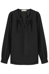 Michael Kors Collection Silk Blouse With Open Collar Black
