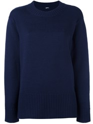 Jil Sander Navy Oversized Sweater Blue