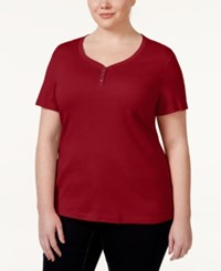 Karen Scott Plus Size Henley T Shirt Only At Macy's New Red Amore