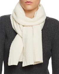 Bloomingdale's C By Waffle Knit Cashmere Scarf Ivory