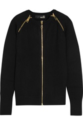 Love Moschino Zip Embellished Wool Blend Cardigan Blue