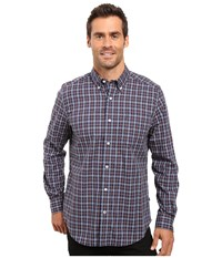 Nautica Long Sleeve Wrinkle Resistant Small Plaid Shirt Ensign Blue Men's Long Sleeve Button Up