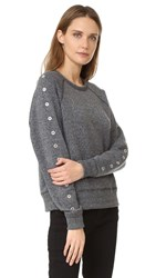 Rag And Bone Classic Pullover With Eyelet Trim Dark Heather Grey