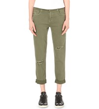 Current Elliott The Fling Straight Mid Rise Jeans Army Green Destroy