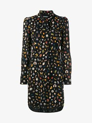 Alexander Mcqueen Obsession Print Silk Shirt Dress Black Multi Coloured