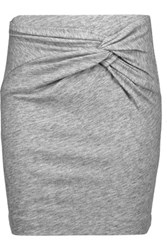 Iro Louisa Twisted Slub Cotton Blend Mini Skirt Gray