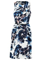 Adrianna Papell Summer Dress Navy Ivory Blue