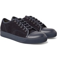 Lanvin Cap Toe Suede And Leather Sneakers Navy