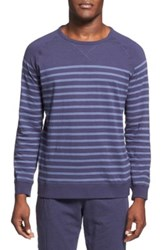 Daniel Buchler Long Sleeve Slub Cotton T Shirt Blue