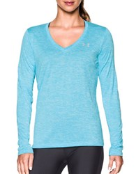 Under Armour Plunging V Neck Moisture Transport Tee Blue