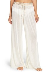 Robin Piccone Women's Mesh Cover Up Pants Cream