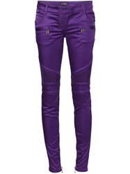 Balmain Skinny Biker Trousers Pink And Purple