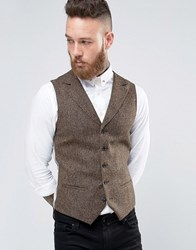Noose And Monkey Woven In England Super Skinny Notch Lapel Waistcoat Brown