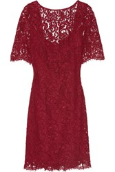 Mikael Aghal Embellished Corded Lace Dress Claret