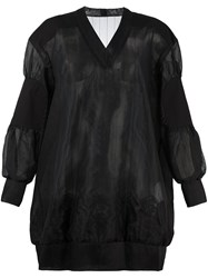 Sacai Semi Sheer Sweatshirt Style Dress Black