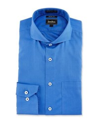 Neiman Marcus Trim Fit Non Iron Textured Dress Shirt Blue