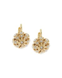 Fragments For Neiman Marcus Fragments Golden Domed Crystal Flower Drop Earrings White