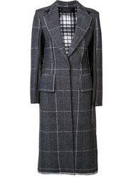 Calvin Klein Contrast Plaid Coat Grey