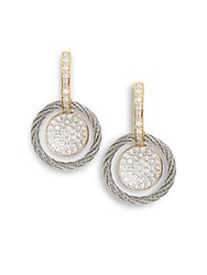 Alor Diamond Stainless Steel And 18K Yellow Gold Coil Drop Earrings Gold Silver