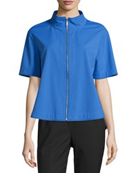 Lafayette 148 New York Beverly Short Sleeve Zip Front Jacket Riviera