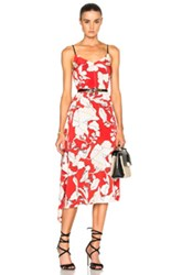 Derek Lam 10 Crosby Sleeveless Peplum Dress In Red Floral