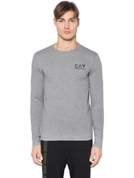 Emporio Armani Logo Detail Cotton Long Sleeve T Shirt