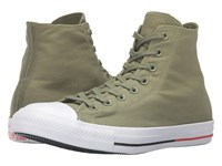 Converse Chuck Taylor All Star Shield Canvas Hi Fatigue Green White Signal Red Lace Up Casual Shoes