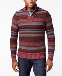 G.H. Bass And Co. Men's Striped Three Button Sweater Winetasting Heather