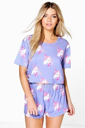 Boohoo Unicorn Print Tee And Short Pj Set Purple