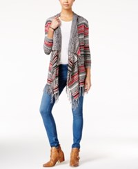 Almost Famous Juniors' Striped Fringe Waterfall Cardigan Black Red