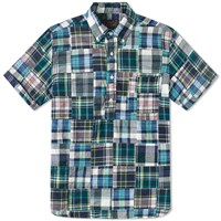 Beams Plus Short Sleeve Popover Patchwork Shirt Blue