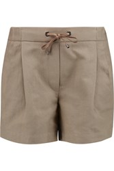 Brunello Cucinelli Cotton And Linen Blend Canvas Shorts Nude